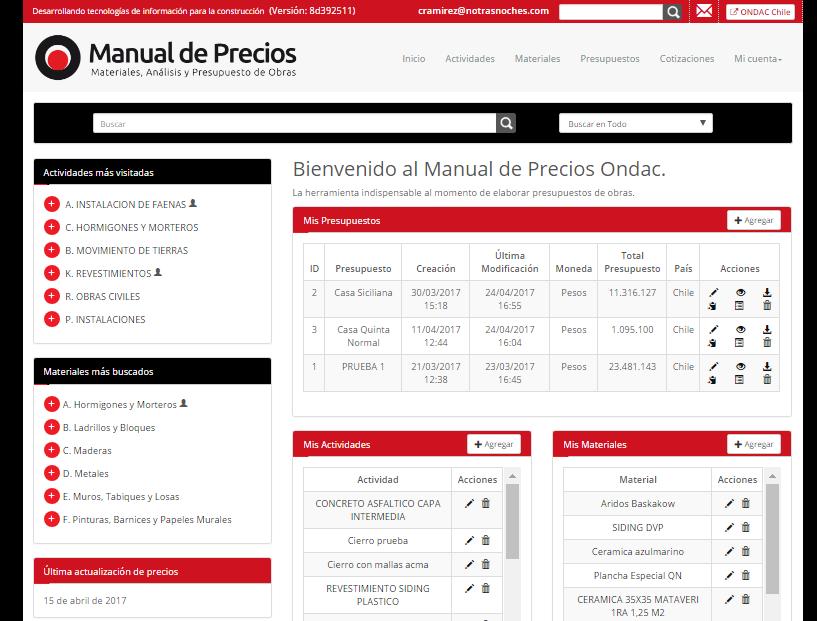 manual de precios ondac version 2017 portal de la construcciÓn ondac